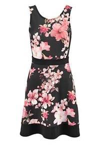 Melrose-Kleid-schwarz-bunt-Damen-Druckkleid-Bluten-Gr-32-34-36-38-40-42-44