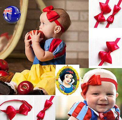 Girl Kid Children Baby Red Ribbon Bow Snowwhite Elastic Hair head band headband