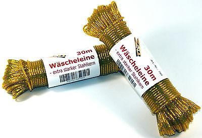 Einfach Wäscheleine Gelb 30m Mit Stahleinlage Stahlseil Wäsche Leine Schnur Extra Stark
