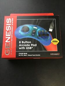 Retro-Bit-Official-Sega-Genesis-8-Button-Arcade-Pad-USB-Controller-PC-Mac-Blue