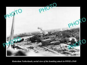 OLD-LARGE-HISTORIC-MILITARY-PHOTO-ROTTERDAM-HOLLAND-AERIAL-VIEW-BOMBING-c1940