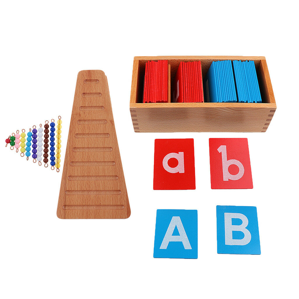 Letter A-Z + 1-10 Bead Bar Montessori Math Language Material Early Learn Toy