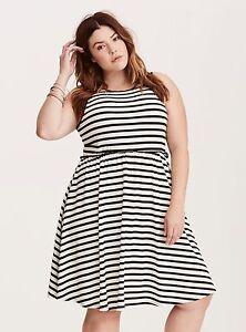 f9818796fa48 Image is loading NWT-Torrid-Black-White-Striped-Skater-Dress-SIZE-
