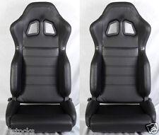 NEW 2 BLACK PVC LEATHER RACING SEATS + SLIDER RECLINABLE PONTIAC NEW *
