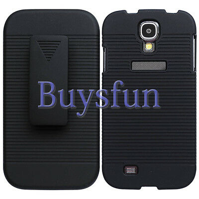 New Black Hard Back Cover Case With Belt Clip Holster FOR Samsung Galaxy S4