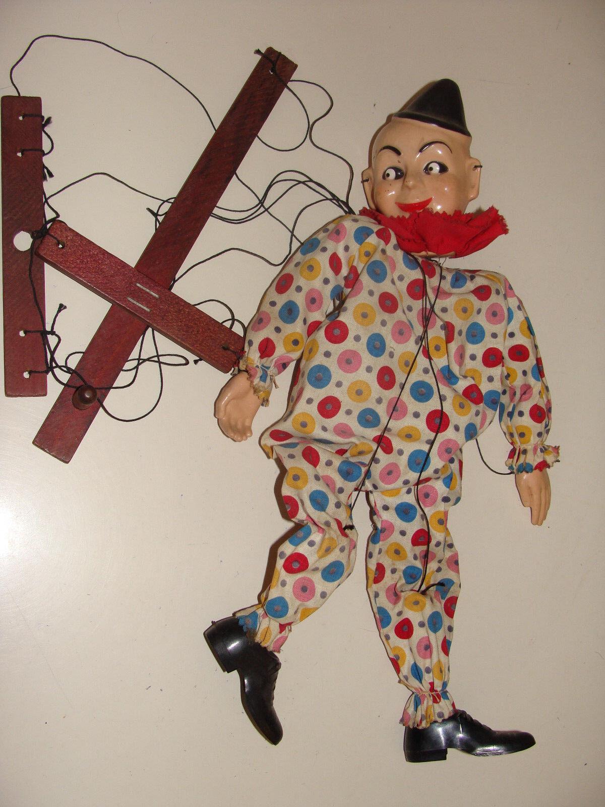 Vintage Clown Marionette Puppet Hazelle Airplane Control 1950s