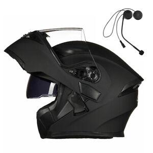 Motorcycle Visor Flip up Modular Full Face Helmet With Bluetooth Headset DOT