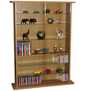 boston glas sammlerst ck vitrine cd dvd aufbewahrungs regale oak ms0640 ebay. Black Bedroom Furniture Sets. Home Design Ideas