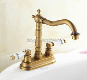 Antique Brass 4 Inch Centerset Bathroom Two Holes Basin Faucet Mixer