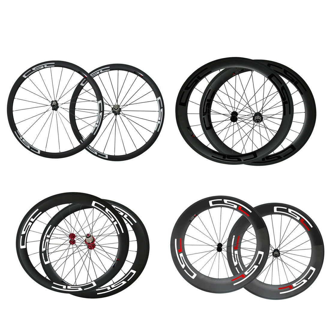 Factory 24 38 50 60 88mm Clincher Tubular Road Race Carbon Wheelset Wheels 700C