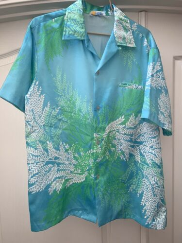 VTG 50s  ANDRADE Honolulu Hawaiian Shirt Ocean Blu