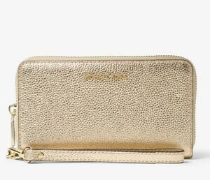 fc6c2f50f57e7 Details about MICHAEL MICHAEL KORS Mercer Gold Metallic Leather Smartphone  Wallet Wristlet