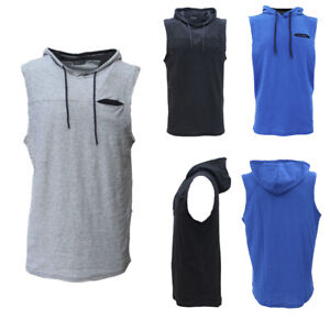 Men-039-s-Sleeveless-Hoodie-Top-w-Pocket-Hooded-Gym-Muscle-Vest-Singlet-Hoody-Cotton