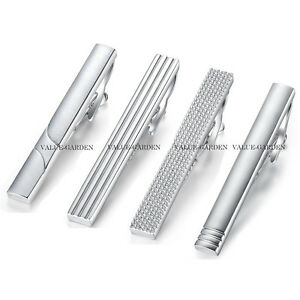 Honey-Bear-Mens-Boys-Plain-Silver-Chrome-Stainless-Steel-Tie-Clip-Clasp-Bars