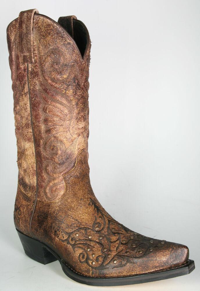 11472 Sendra Bottes De Cowboy Palma Cuoio Vintage-look Avec Petits Rivets