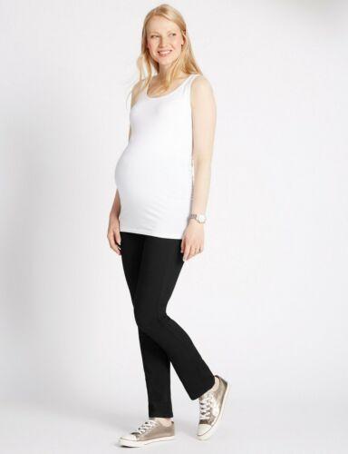 NUOVO M&S Maternità Mamma Nero Sopra Il Bump Jeans/Pantaloni Sz UK 10