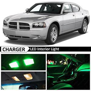 10x Green Led Interior Lights Package Kit For 2006 2010 Dodge Charger Ebay
