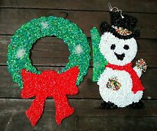 Vintage Snowman and Wreath Melted Popcorn holiday Christmas Decoration