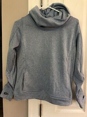 Albion Fit Womens Cowl Neck Sweatshirt Size Xs Thumb Holes Vguc Ice Blue