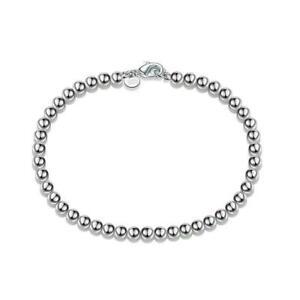 Frauen-925-Sterling-Silber-Liebe-Manschette-Perle-Ball-Offenen-Armreif-D1W3