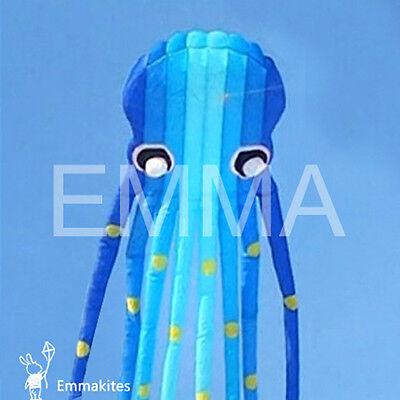 Professional 23M Giant Gradient Blue 3D Tube Shaped Parafoil Octopus Kite Adults