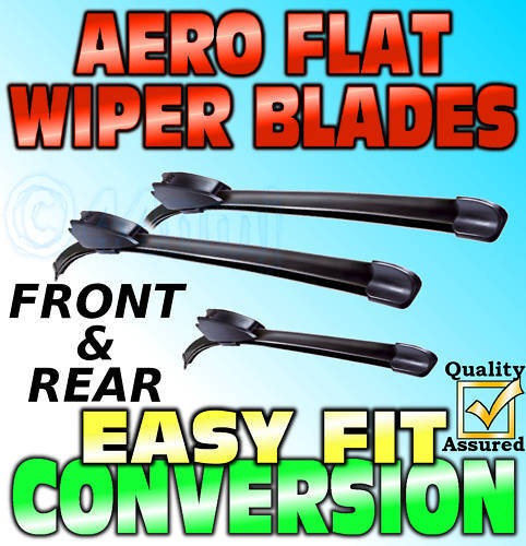 FRONT /& REAR 3 x Flat Wiper Blades Daewoo Matiz /<-2006