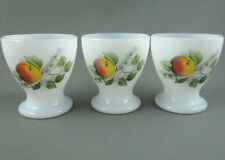 Egg Cup Holder x 3 Milk Glass Apple Tree Branch Greenery Kitchenware Breakfast