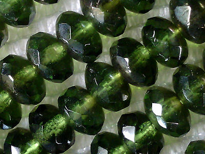 vtg 100 FOREST GREEN DONUT RONDELLE FIRE POLISHED BEADS GLASS 4x7mm #052215o