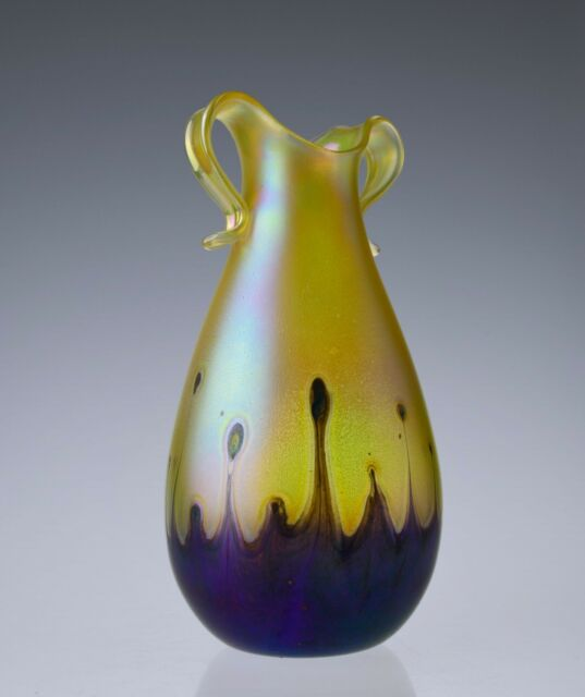 Hand Blown Glass Vase Art Nouveau Pulled Feather Iridescent Art