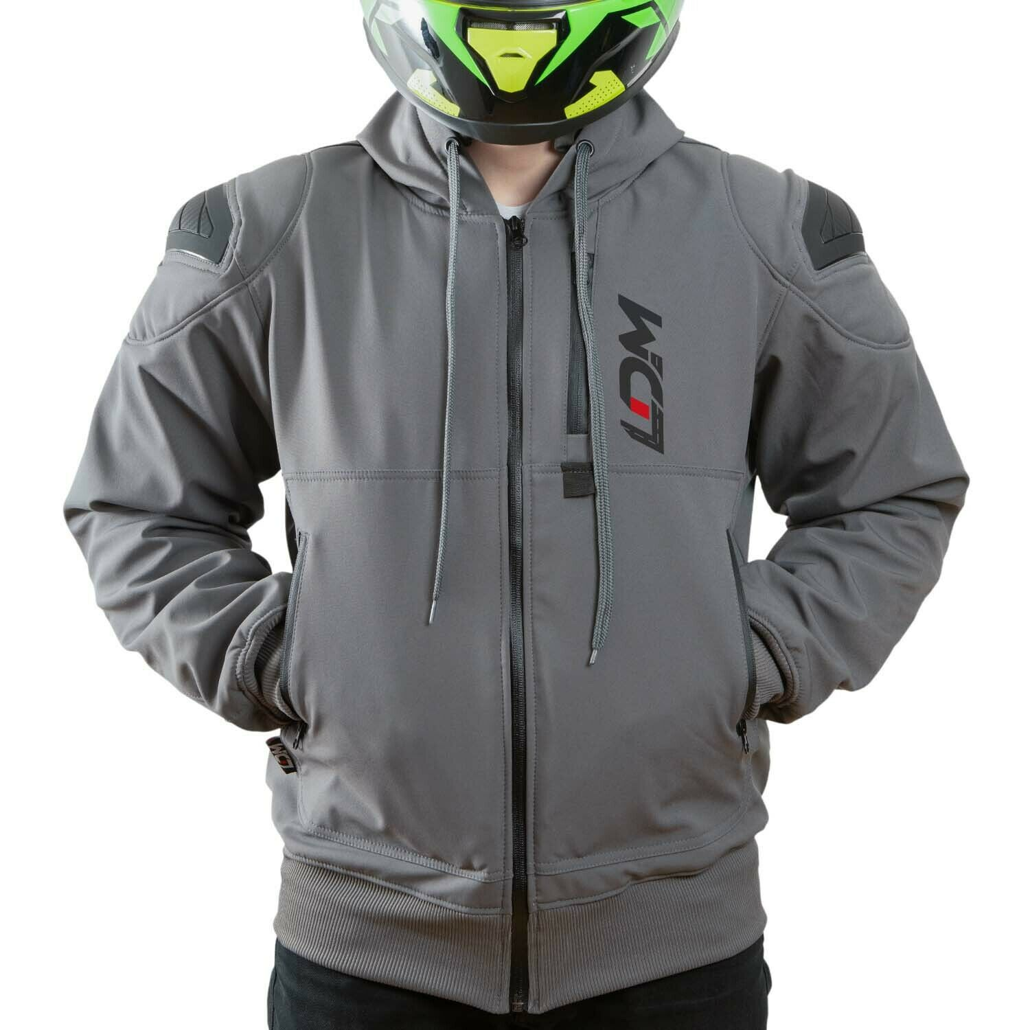 Grey Bikers Gear The CrossFire Grey Full Kevlar Motorcycle Hoodie CE Protection Small