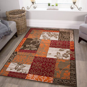 Details About Warm Red Modern Patchwork Rugs Small Large Terracotta Damask Living Room Mats Uk