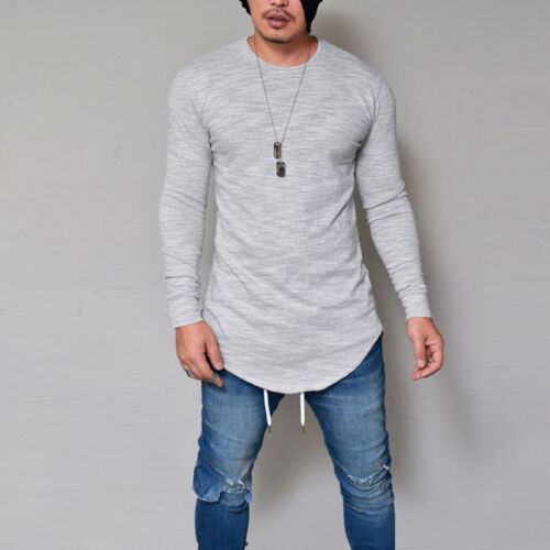 Fashion Men/'s Casual T Shirt Cotton Long Sleeve  Solid Color clothes O-Neck Tops