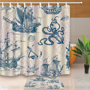 Image Is Loading Vintage Sailing And Sea Monster Shower Curtain Bathroom