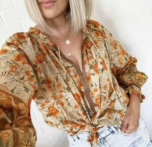 XL-New-Boho-Floral-Long-Sleeve-Peasant-Blouse-Vtg-70s-Insp-Top-Womens-X-LARGE