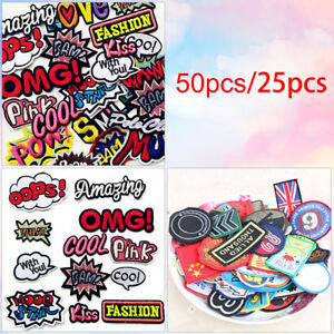 25-50pc-Mix-Assorted-Sew-on-Iron-on-Embroidered-Patch-Diy-Craft-Clothes-Applique