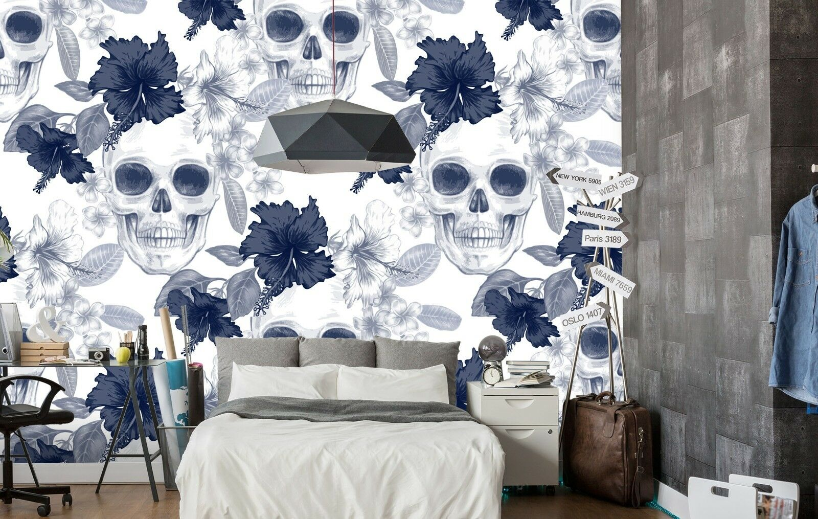 3D Skull Fower 784 Wallpaper Mural Paper Wall Print Murals UK Sidney