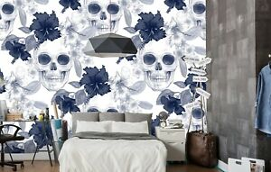 3d Skull Fower 784 Wallpaper Mural Paper Wall Print Murals Uk