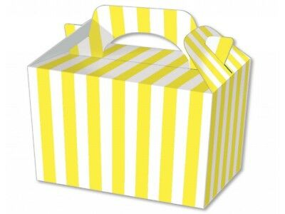 Yellow Stripe Food Boxes Striped Loot Lunch Meal Box Birthday Party Plate Ebay