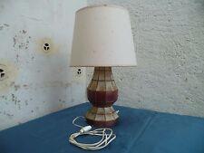Ancienne 1960 Lampe de Salon piétement style vitraux dans gage de laiton