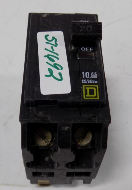 Square D 20 Amp Circuit Breaker 120//240 VAC 10 AIC
