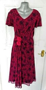 JACQUES-VERT-Size-14-Pink-Purple-Shift-Occasion-Dress-Ruched-Detail-Lined