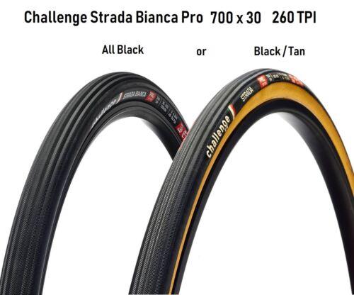 Challenge Strada Bianca Pro 700 x 30 Clincher Tire All Black or Blk//Tan 260 TPI