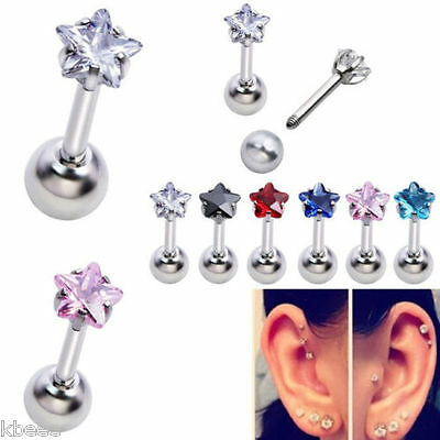 16G CZ Star Steel Barbell Ear Tragus Cartilage Helix Studs Earring Piercing Cool