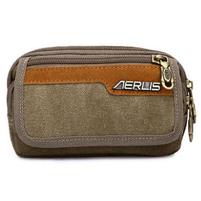 Men Canvas Wrist Bag Cell Mobile Phone Belt Pouch Purse Fanny Pack Waist Bag