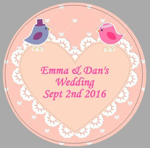 24 x 40mm personalised round stickers wedding lovebirds pink heart favour labels