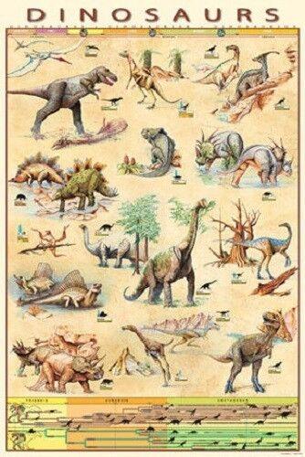 Safari Ltd # 289521 Dinosaurs Laminated Poster NEW