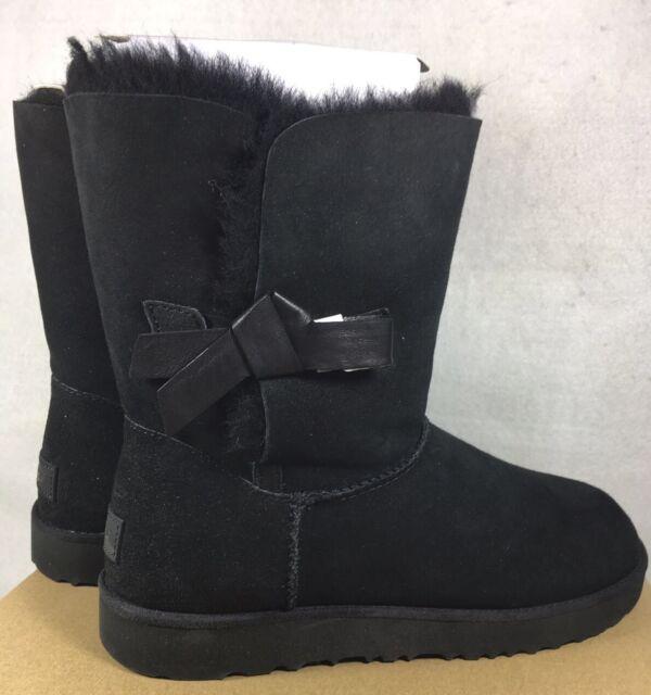 0eeaf0ef389 UGG Australia 1016416 Classic Knot Short Women Sheepskin Suede BOOTS Black 6