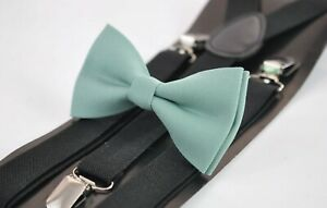 Sage-Green-Cotton-Bow-tie-Black-Elastic-Suspenders-Braces-for-Men-Youth-or-Boy