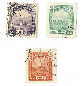 LOT-OF-THREE-1940-039-s-CHINA-PARCEL-TRUCK-STAMPS