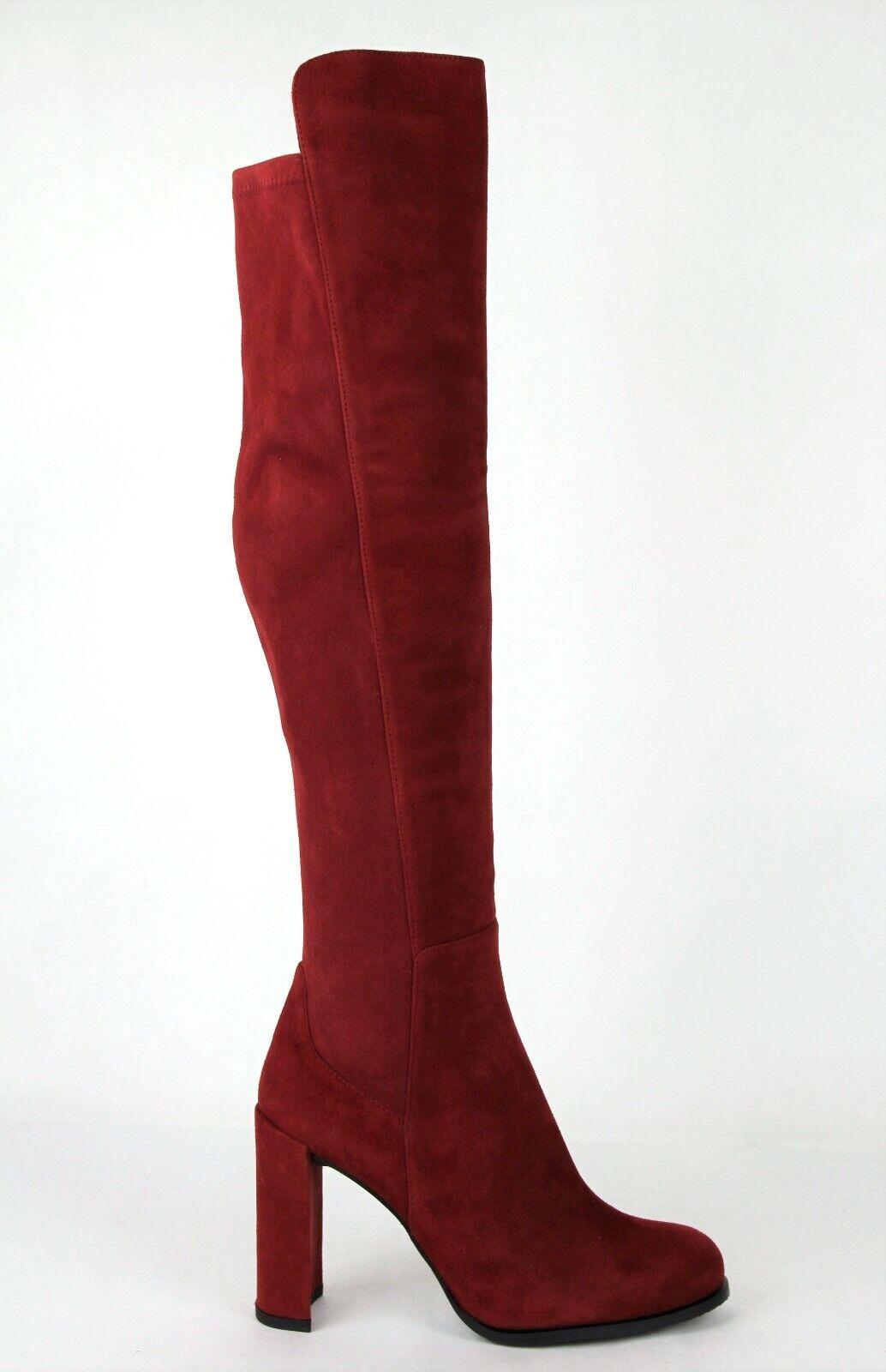 765 Stuart Weitzman Women's Alljill Scarlet Red Suede Over-the-knee Boot